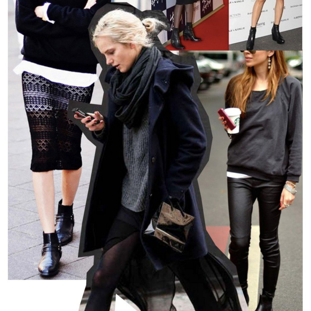 Mix and match black Chelsea boots with a black attire and a clutch bag