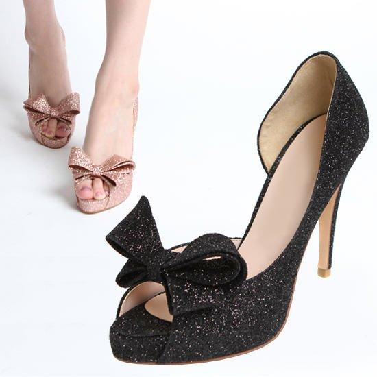 black sparkly open toe heels
