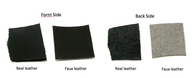 b0f094bc4e The left is faux leather and the right is real leather. If you examine each  of the inner part, genuine leather is rough like a tax (suede), and  artificial ...
