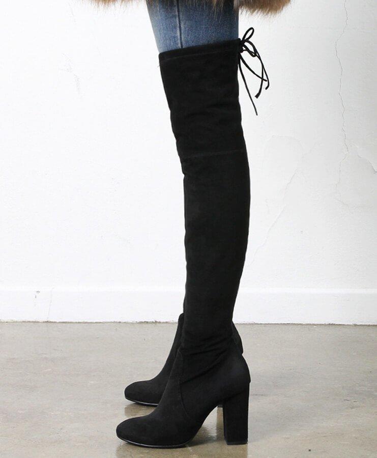 Back bow thigh-high boots-9cm | Jgshoe.com